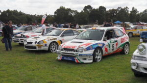 A group of exhibited cars at Rally Retro Festival